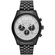 שעון שחור משובץ לגבר