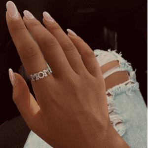 טבעת כסף MOM